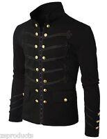 Men Handmade Black Embroidery Military Napoleon Hook Jacket 100% Cotton