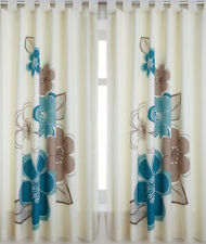 Candice, Teal Flower Print Curtains 72s