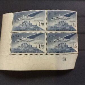 1948-65  Ireland 1/5d Airmail corner plate block of 4 .Pl 1A MNH