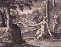 Gravure XVIIIe Byblis Biblis Βυβλίδα Библида Fontaine Caunos