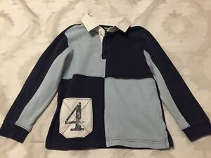 Gymboree Blue And White Boys Rugby Polo Shirt Long Sleeved Size 7