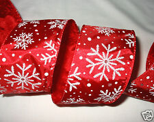 """2-1/2"""" Red with Snowflakes ~ Christmas Wired Edge Ribbon - 5 Yards Holiday Bow"""