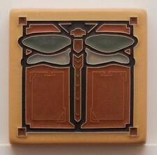 4x4 Arts & Crafts Dragonfly Tile in Green Oak by Arts & Craftsman Tileworks
