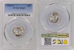 """1945-S PCGS MS65 UNCIRCULATED SILVER WINGED LIBERTY """"MERCURY"""" DIME ! AWESOME !"""
