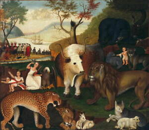 Edward Hicks The Peaceable Kingdom Poster Reproduction Giclee Canvas Print