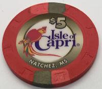 Isle Of Capri Casino $5 Gaming Chip - Natchez MS - Paulson H&C CG009538 2000