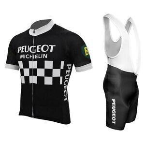 Peugeot Michelin Retro Cycling Jersey bib shorts Cycling Short Sleeve Jersey