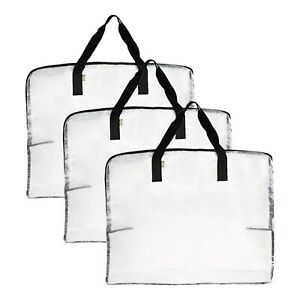 3X IKEA STRONG Large Clear/Transparent Zipped Plastic Storage Bags Saving Space