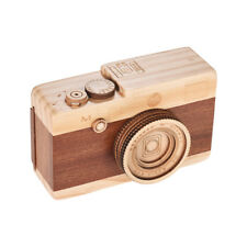 Wooden Music Box Retro Camera Design Classical Melody Birthday Christmas F0N9