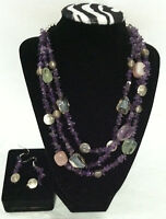 NEW QVC Silver Plated amethyst & Quartz necklace and matching earrings in box