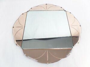 Original Art Decor Peach & Clear Glass Mirror from 1930s 46cm x 46cm Wooden back