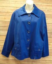 CHICOS 3 Blue Long Sleeve Button Up Lined Stretch Shirt Jacket