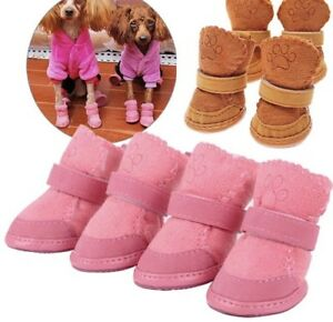 Cute High Quality Dog Puppy Suede Shoes Boots Booties Pink Brown X 4 - FREEPOST