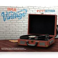 Pyle PVTTBT9BR Bluetooth Brown Classic Briefcase-style Turntable Speaker System