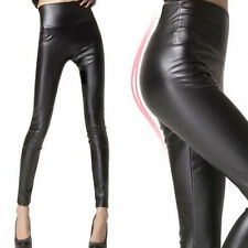 NEW Faux Leather Wet Look Leggings Skinny Shiny Bodycon High Waisted Pants