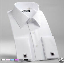 New white Double French Cuff Mens Formal Business Dress Shirt Designer Italian