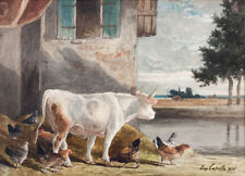 Eugène Alfred Capelle Poules & vache 1875 superbe grande aquarelle dim: 27x37 cm