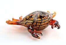 """New 8"""" Hand Blown Art Glass Crab Sculpture Figurine Statue Orange Black"""