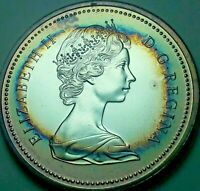 1975 CANADA 1 ONE SILVER DOLLAR PROOF UNC TONED BU BLUE COLOR GEM MONSTER (DR)