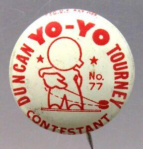 1950's vintage DUNCAN YO-YO  #77 TOURNEY CONTESTANT pinback button a3