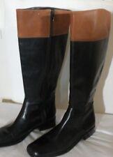 Ann Taylor Black Tan Leather Knee High Riding Equestrian Boots Churchill 6M NEW