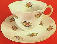ROSINA CUP & SAUCER BONE CHINA SCALLOPED W/LAVENDER & YELLOW FLOWERS VINTAGE