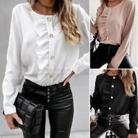 Size Womens Work Ruffle Long Sleeve Shirts Ladies Loose Blouse Casual OL Tops UK