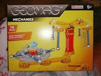 RARE GEOMAG MECHANICS SET 725 78 PIECES NEW SEALED RODS BALLS & PANELS COGS 5+
