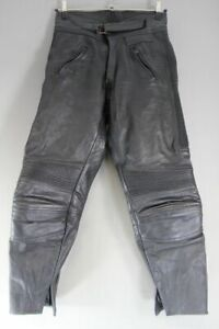 BELSTAFF CLASSIC BLACK LEATHER BIKER TROUSERS: WAIST 32 INCH/INSIDE LEG 28 INCH