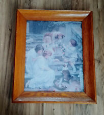 Vintage Victorian Children Girl Collie Dogs Print, Oak Picture Frame, Wavy Glass