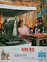 PUBLICITÉ DE PRESSE 1960 ANCRE BIÈRE D'ALSACE A LA PIZZERIA
