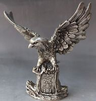 Old Chinese Feng Shui Folk Silver Carving Animal Fly Eagle Hawk Statue Sculpture