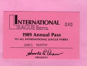 1989 Rochester Red Wings Pass Ticket Curt Schilling 13 Wins/Boston Red Sox MT