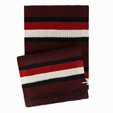 Tommy Hilfiger Mens Scarf Red White One US Striped Colorblocked Knit $60 419