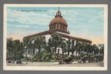 [50813] Old Postcard Early Automobiles Outside City Hall, Jacksonville, Florida