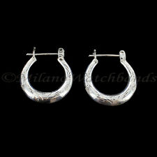 Hoop with Snap Post Earring Beautiful Hand Carved Sterling Silver Half