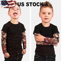 Children Boys T-Shirt Mesh Tattoo Printed Long Sleeve Floral Kid Tee Tops Blouse