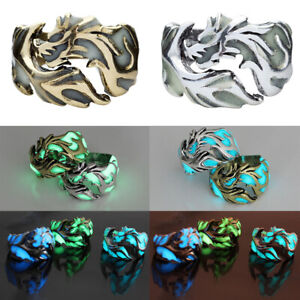 Luminous Dragon Copper Glow In The Dark Ring Punk Steel Mens Women Rings Jewelry
