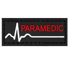 PVC Morale Patch Paramedic Red White Black 3D Badge Hook #59 Airsoft