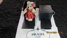 PRADA KEY HOLDER TEDDY BEAR MOTIF BAG CHARM KEY RING SAFFIANO RED COLOR LEATHER