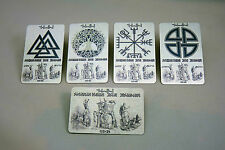 Viking Metal Wallet Inserts 5x Ancient Symbols Cards -Your Name Printed in RUNES