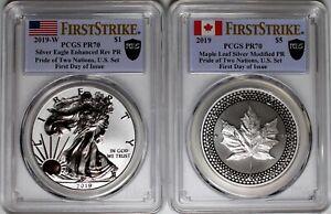 2019 Pride of Two Nations Set Silver Eagle & Silver Maple Leaf PCGS PR70 FDOI