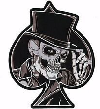 Top Hat Skull Spade Skeleton Death Large Motorcycle Jacket Biker Back Patch 10""