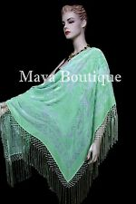 Piano Shawl Wrap Scarf Silk Burnout Velvet Mint Color Hand Dyed Maya Matazaro