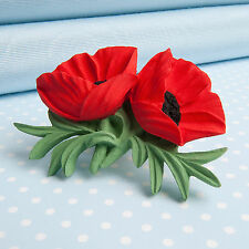 Double  POPPY  Brooch   flower jewellery  MADE IN WALES UK Handpainted