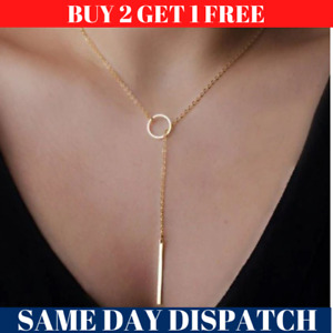 New Trendy Simple Gold Plated Long Chain Necklaces lariat Charm Bar Pendant UK