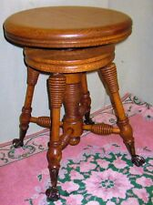 ANTIQUE PIANO ORGAN STOOL SOLID OAK w/CLAW & BALL FEET BEE HIVE TURNINGS CA 1900