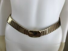 Women's Vintage 1970's Disco Gold Metal Scales Stretch Belt, Size L, Pre-Owned