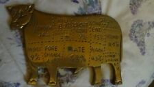 Vintage Butcher Shop Beef Cuts Solid Brass Cow.