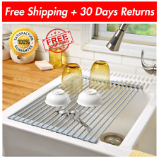 Over the Sink Drying Rack Stainless Steel Roll-Up Dish Bottle Food Drainer USA
